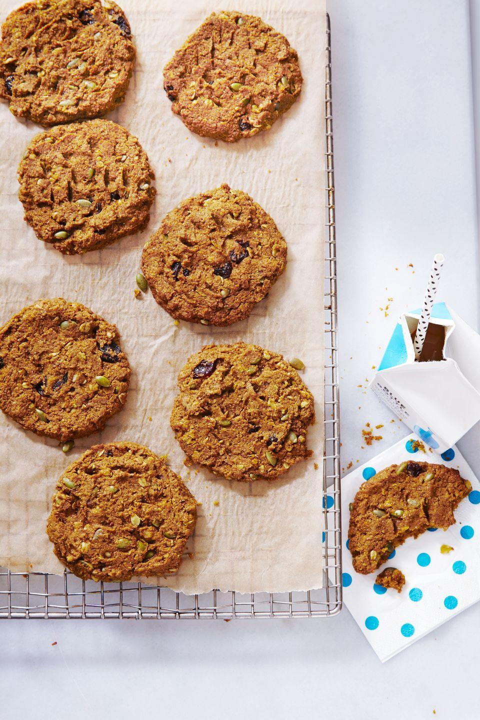 "<p>Baked with protein and fiber, these are some cookies that are 100% approved for breakfast.</p><p><em><a href=""https://www.goodhousekeeping.com/food-recipes/dessert/a35274/pumpkin-cherry-breakfast-cookies/"" rel=""nofollow noopener"" target=""_blank"" data-ylk=""slk:Get the recipe for Pumpkin-Cherry Breakfast Cookies »"" class=""link rapid-noclick-resp"">Get the recipe for Pumpkin-Cherry Breakfast Cookies »</a></em> </p>"