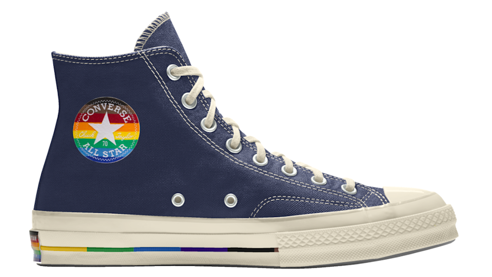 "<a href=""https://www.converse.com/shop/pride"" rel=""nofollow noopener"" target=""_blank"" data-ylk=""slk:Converse"" class=""link rapid-noclick-resp""><h2>Converse</h2></a> <br>Since its first Pride collection in 2015, Converse has consistently made contributions to organizations like <a href=""https://itgetsbetter.org/"" rel=""nofollow noopener"" target=""_blank"" data-ylk=""slk:It Gets Better Project"" class=""link rapid-noclick-resp"">It Gets Better Project</a>, <a href=""https://www.bagly.org/"" rel=""nofollow noopener"" target=""_blank"" data-ylk=""slk:BAGLY"" class=""link rapid-noclick-resp"">BAGLY</a>, the <a href=""https://www.aliforneycenter.org/"" rel=""nofollow noopener"" target=""_blank"" data-ylk=""slk:Ali Forney Center"" class=""link rapid-noclick-resp"">Ali Forney Center</a>, and <a href=""https://outmetrowest.org/"" rel=""nofollow noopener"" target=""_blank"" data-ylk=""slk:Out MetroWest"" class=""link rapid-noclick-resp"">Out MetroWest</a>. This year is no exception with shoes and apparel inspired by the ""More Color, More Pride"" flag, which includes black and brown stripes to be more inclusive of people of color.<br><br><strong>Converse</strong> Custom Pride Chuck 70 By You, $, available at <a href=""https://go.skimresources.com/?id=30283X879131&url=https%3A%2F%2Fwww.converse.com%2Fshop%2Fp%2Fcustom-pride-chuck-70-by-you-unisex-high-top-shoe%2F169753CSU20.html%3Fdwvar_169753CSU20_color%3Dnavy%26dwvar_169753CSU20_width%3Dstandard%26styleNo%3D169753C%26cgid%3Dpride-collection"" rel=""nofollow noopener"" target=""_blank"" data-ylk=""slk:Converse"" class=""link rapid-noclick-resp"">Converse</a><br>"