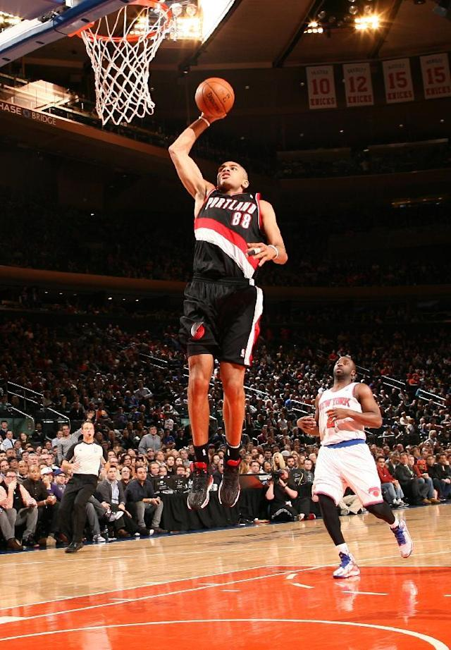 NEW YORK, NY - FEBRUARY 05: Nicolas Batum #88 of the Portland Trail Blazers dunks during a game against the New York Knicks at Madison Square Garden in New York City on February 05, 2014. (Photo by Nathaniel S. Butler/NBAE via Getty Images)