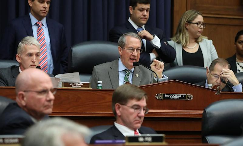 The judiciary committee chairman, Robert Goodlatte, questions the FBI agent Peter Strzok.