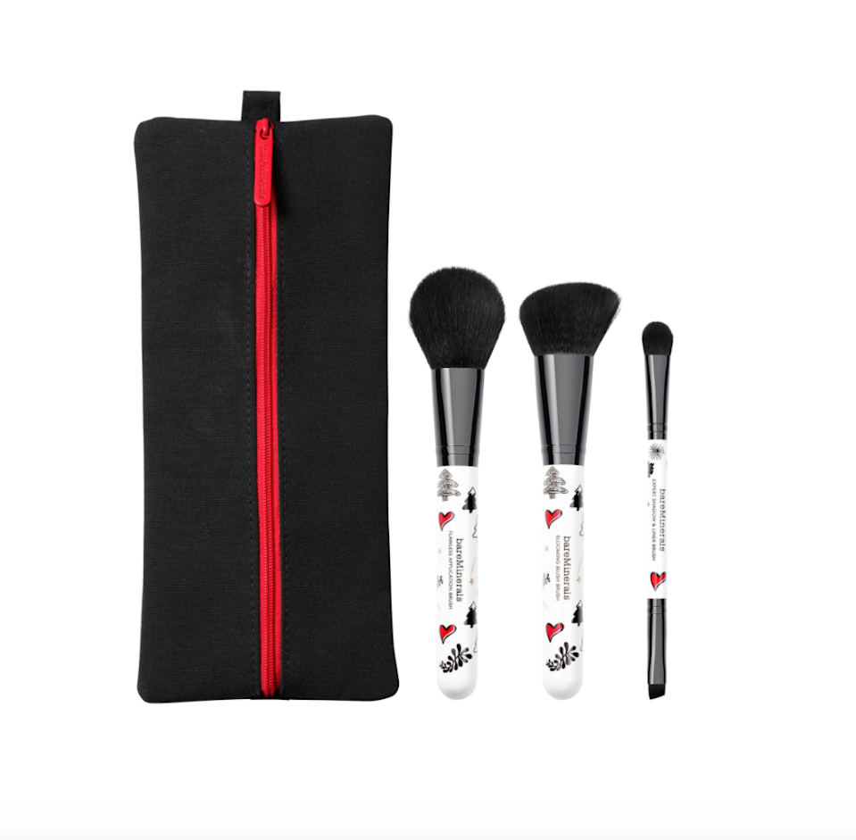 "<br><br><strong>bareMinerals</strong> 3-Piece Brush Set + Bag, $, available at <a href=""https://go.skimresources.com/?id=30283X879131&url=https%3A%2F%2Fwww.bareminerals.com%2Fholiday%2Fshop-all-holiday%2F3-piece-brush-set-%252B-bag%2FUS41700231101.html"" rel=""nofollow noopener"" target=""_blank"" data-ylk=""slk:bareMinerals"" class=""link rapid-noclick-resp"">bareMinerals</a>"