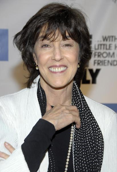 "FILE - In this Dec. 2, 2008 file photo, director Nora Ephron poses on the press line at ""One Night Only...With a Little Help From Our Friends"" benefiting UCLA School of Theater, Film and Television at Royce Hall in Los Angeles. Publisher Alfred A. Knopf confirmed Tuesday, June 26, 2012, that author and filmmaker Nora Ephron died Tuesday of leukemia. (AP Photo/Dan Steinberg, file)"