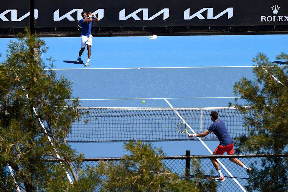 Tennis players at a practice session ahead of the Australian Open.