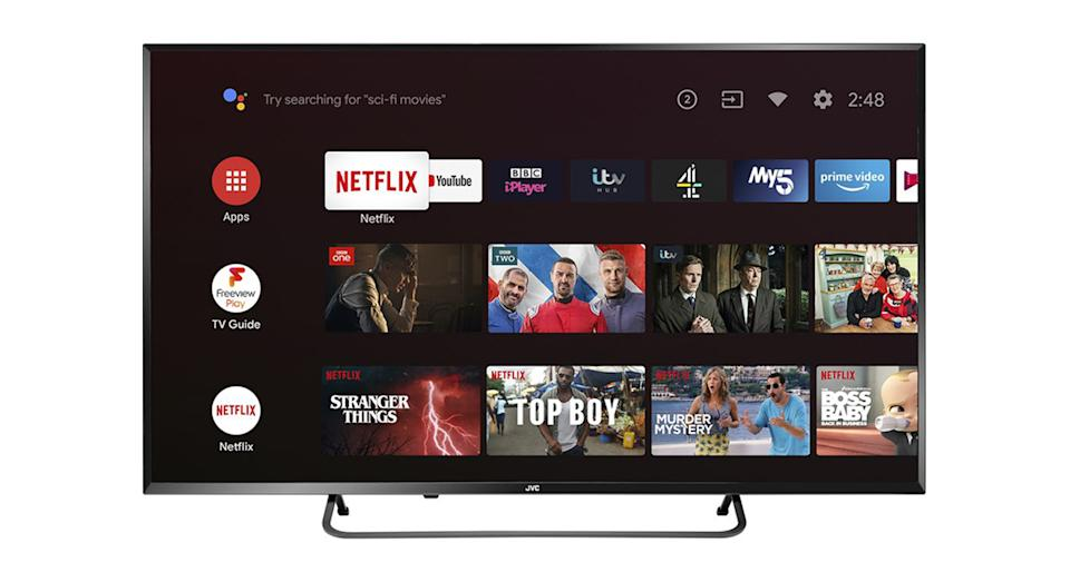 """JVCLT-50CA890 Android TV 50"""" Smart 4K Ultra HD HDR LED TV with Google Assistant"""