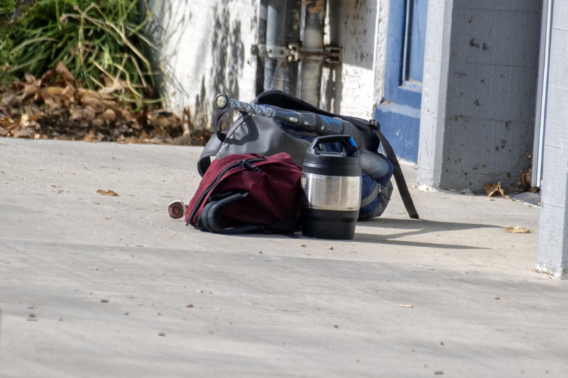 A an unattended thermos and a backpack on the ground at Saugus High School after a school shooting occurred Nov. 14, 2019. (Photo: Hans Gutknecht/MediaNews Group/Los Angeles Daily News via Getty Images)