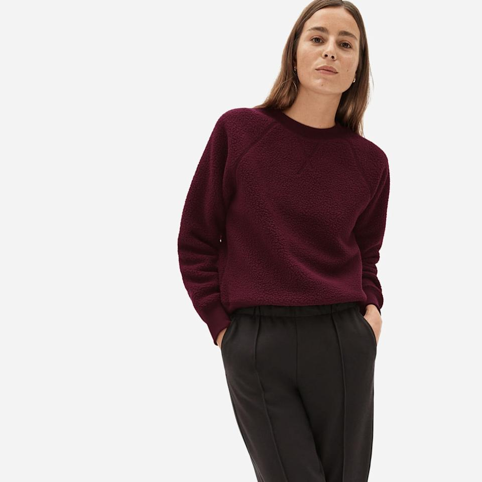 Everlane The ReNew Fleece Raglan Sweatshirt. Image via Everlane