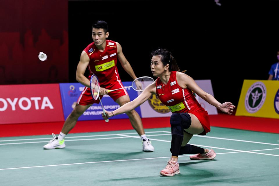 Malaysia's mixed double pair of Chan Peng Soon (left) and Goh Liu Ying compete in the Mixed Doubles quarter finals match against Satwiksairaj Rankireddy and Ashwini Ponnappa of India on day four of the Toyota Thailand Open on January 22, 2021 in Bangkok, Thailand. (PHOTO: Getty Images)