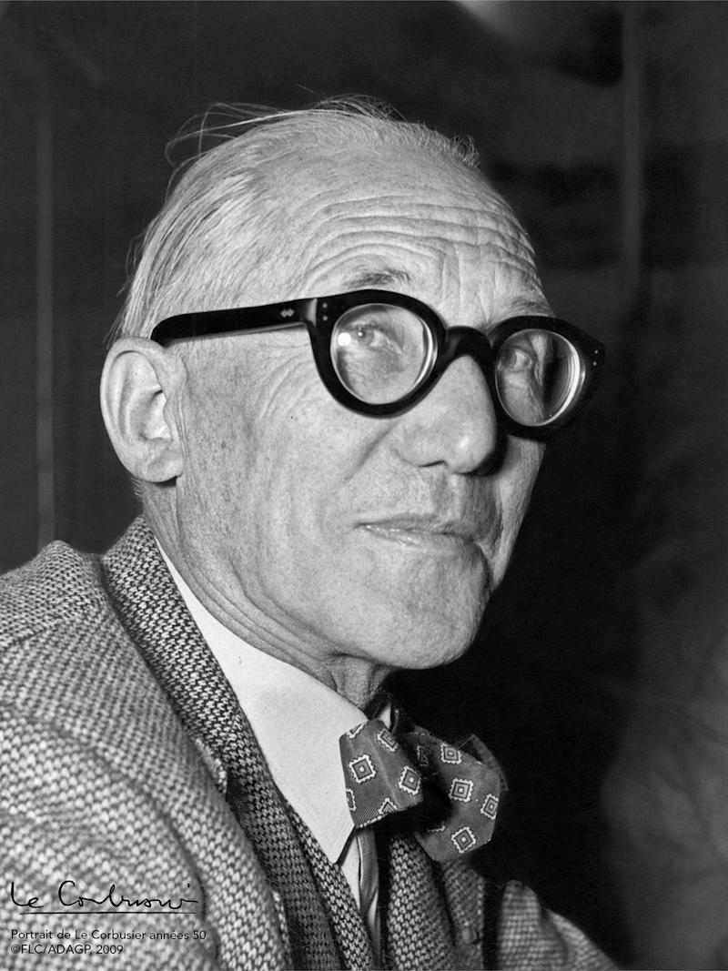 A portrait of architect Le Corbusier.