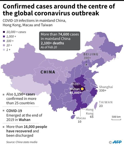 Map showing confirmed cases of the 2019 Novel Coronavirus around mainland China, Hong Kong, Macau and Taiwan, as of Feb 20