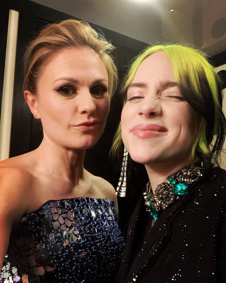 """<p>""""Just me fangirling over @billieeilish,"""" the actress <a href=""""https://twitter.com/AnnaPaquin/status/1227094100542836737"""">tweeted</a> the night after the <a href=""""https://people.com/movies/oscars-2020-celebrities-there-for-the-first-time/"""">2020 Oscars</a>.</p><p>Eilish was there to <a href=""""https://people.com/movies/oscars-2020-best-moments-of-the-night/?slide=7647642#7647642"""">sing a cover of """"Yesterday""""</a> by The Beatles during the night's <a href=""""https://people.com/movies/oscars-2020-in-memoriam-skobe-bryant-kirk-douglas-honored/"""">in memoriam tribute</a>.</p>"""