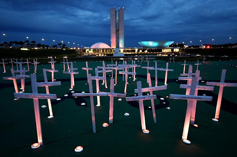 Greenpeace activists set up crosses in front of the National Congress in Brasilia to protest deaths related to illegal logging in the Brazilian Rainforest (AFP Photo/EVARISTO SA)