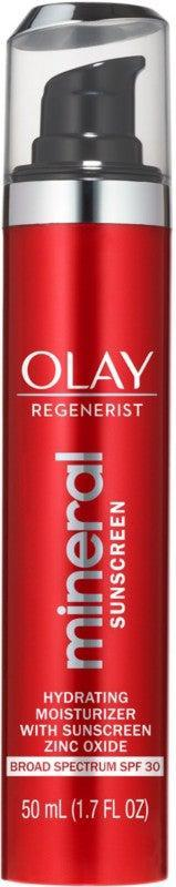 """<h3>Olay Regenerist Mineral Sunscreen Hydrating Moisturizer SPF 30<br></h3><br><a href=""""https://www.refinery29.com/en-us/best-zinc-oxide-sunscreen"""" rel=""""nofollow noopener"""" target=""""_blank"""" data-ylk=""""slk:Mineral sunscreens"""" class=""""link rapid-noclick-resp"""">Mineral sunscreens</a> (titanium dioxide and zinc oxide) are easy to hate. They can be greasy and leave that dreaded white cast, especially on <a href=""""https://www.refinery29.com/en-us/mineral-sunscreen-dark-skin"""" rel=""""nofollow noopener"""" target=""""_blank"""" data-ylk=""""slk:dark skin tones"""" class=""""link rapid-noclick-resp"""">dark skin tones</a>. To overcome those downsides, Olay turned to micronized zinc oxide, which applies in a thin layer thanks to the small particles. The sheer, fragrance-free formula also contains moisturizing glycerin and free radical-fighting vitamin E, making it a perfect pick for <a href=""""https://www.refinery29.com/en-us/best-products-for-sensitive-skin"""" rel=""""nofollow noopener"""" target=""""_blank"""" data-ylk=""""slk:sensitive skin"""" class=""""link rapid-noclick-resp"""">sensitive skin</a>.<br><br><strong>Olay</strong> Regenerist Mineral Sunscreen Hydrating Moisturizer SPF 30, $, available at <a href=""""https://go.skimresources.com/?id=30283X879131&url=https%3A%2F%2Fwww.ulta.com%2Fregenerist-mineral-sunscreen-hydrating-moisturizer-spf-30%3FproductId%3Dpimprod2018843"""" rel=""""nofollow noopener"""" target=""""_blank"""" data-ylk=""""slk:Ulta Beauty"""" class=""""link rapid-noclick-resp"""">Ulta Beauty</a>"""