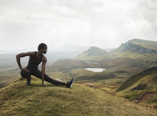 Model wears tank and leggings from H&M Conscious Sport Collection. (Photo: courtesy of H&M)