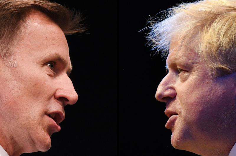 A combination of pictures created in London on July 19, 2019 shows the two British Conservative Party leadership candidates; Boris Johnson (R) giving a speech during a fringe event on the sidelines of the third day of the Conservative Party Conference 2018 at the International Convention Centre in Birmingham, on October 2, 2018 and Jeremy Hunt (L) taking part in a Conservative Party Hustings event in York, north east England, on July 4, 2019. - The new leader of the Conservative Party and new UK Prime Minister will be announced on July 23, 2019. (Photo by Oli SCARFF / AFP) (Photo credit should read OLI SCARFF/AFP/Getty Images)