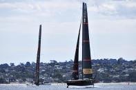 Italy's Luna Rossa, right, and Team New Zealand maneuver ahead of race 7 of the America's Cup on Auckland's Waitemata Harbour, New Zealand, Sunday, March 14, 2021. (Chris Cameron/Photosport via AP)