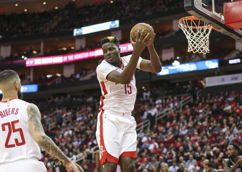 Nov 13, 2019; Houston, TX, USA; Houston Rockets center Clint Capela (15) grabs a rebound during the second quarter against the Los Angeles Clippers at Toyota Center. Mandatory Credit: Troy Taormina-USA TODAY Sports