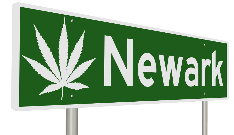A rendering of a green road sign with marijuana leaf for Newark