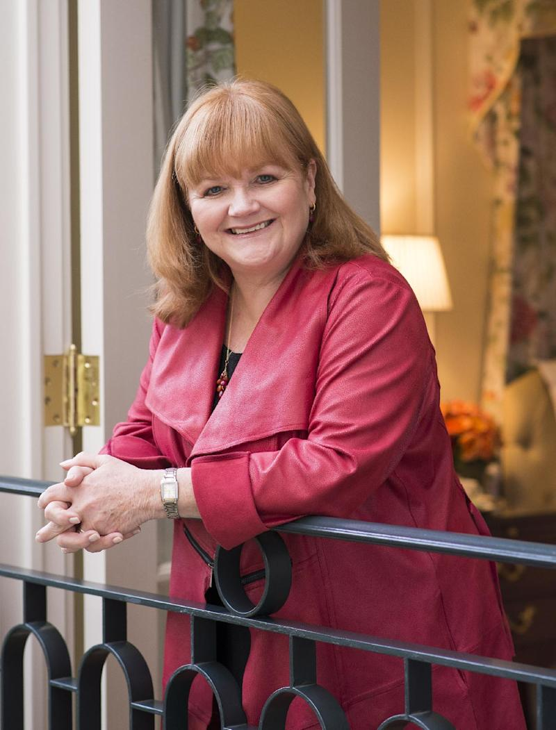 """In this Tuesday, Dec. 17, 2013 photo, actress Lesley Nicol poses for a portrait at The Peninsula hotel in Beverly Hills, Calif. Nicol performs as Mrs. Patmore in the PBS Masterpiece hit TV series, """"Downton Abbey."""" As it returns Sunday, Jan. 5, 2013, for its much-awaited fourth season, """"Downton Abbey"""" remains a series about elegance, tradition and gentility, and the pressures of preserving them. (Photo by Dan Steinberg/Invision/AP)"""