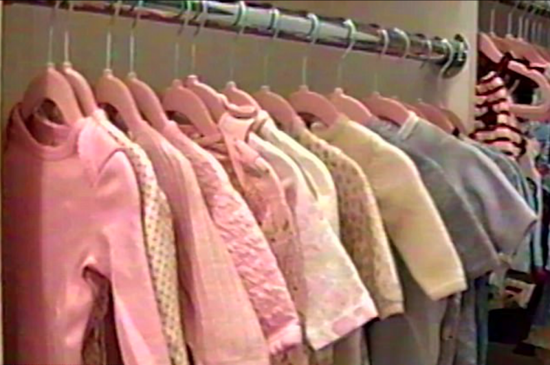 The sneak-peek of the walk-in robe features pink jumpsuits, dresses and cardigans. Source: kyliejenner/Instagram/Youtube