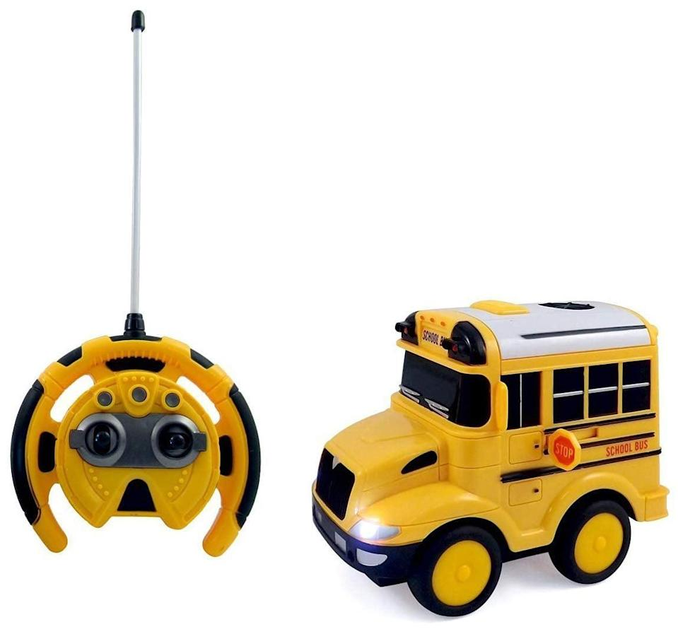 "<p>Kids love remote-controlled cars, and this <a href=""https://www.popsugar.com/buy/PowerTRC-RC-School-Bus-490918?p_name=PowerTRC%20R%2FC%20School%20Bus&retailer=amazon.com&pid=490918&price=19&evar1=moms%3Aus&evar9=25800161&evar98=https%3A%2F%2Fwww.popsugar.com%2Fphoto-gallery%2F25800161%2Fimage%2F25800193%2FPowerTRC-RC-School-Bus&list1=gifts%2Choliday%2Cgift%20guide%2Cparenting%2Ctoddlers%2Clittle%20kids%2Ckid%20shopping%2Choliday%20living%2Choliday%20for%20kids%2Cgifts%20for%20toddlers%2Cbest%20of%202019&prop13=api&pdata=1"" class=""link rapid-noclick-resp"" rel=""nofollow noopener"" target=""_blank"" data-ylk=""slk:PowerTRC R/C School Bus"">PowerTRC R/C School Bus</a> ($19) is the perfect first R/C for tiny tots. Its easy-to-use control is so soft you can squeeze it, so it won't end up bonking anyone on the head when it is thrown around.</p>"