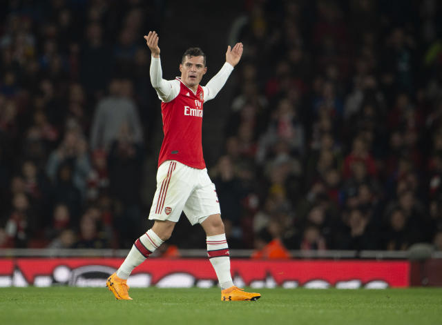 Granit Xhaka of Arsenal reacts to the crowd (Credit: Getty Images)