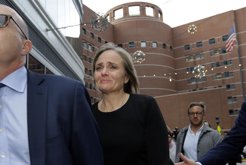 District Judge Shelley M. Richmond Joseph departs federal court, Thursday, April 25, 2019, in Boston after facing obstruction of justice charges for allegedly helping an undocumented immigrant evade immigration officials. (ASSOCIATED PRESS)