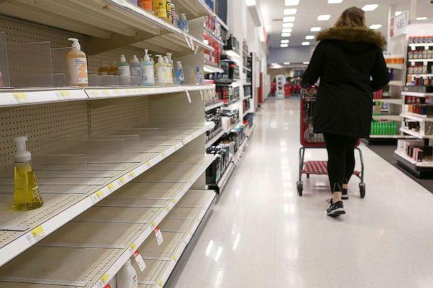 PHOTO: Shelves that held hand sanitizer and hand soap are mostly empty at a Target in Jersey City, N.J., March 3, 2020. (Seth Wenig/AP)