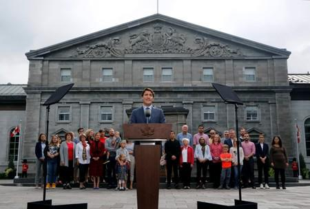 Canada's PM Justin Trudeau speaks during a news conference at Rideau Hall in Ottawa