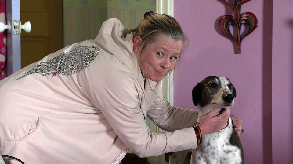 FROM ITV  STRICT EMBARGO  -  No Use Before Tuesday 1st June 2021   Coronation Street - Ep 10345  Monday 7th June 2021 - 2nd Ep  Bernie Winter [JANE HAZLEGROVE] drops Cerberus home and with the aid of a doggy treat exposes Evelyn PlummerÕs [MAUREEN LIPMAN] scam  Picture contact David.crook@itv.com   This photograph is (C) ITV Plc and can only be reproduced for editorial purposes directly in connection with the programme or event mentioned above, or ITV plc. Once made available by ITV plc Picture Desk, this photograph can be reproduced once only up until the transmission [TX] date and no reproduction fee will be charged. Any subsequent usage may incur a fee. This photograph must not be manipulated [excluding basic cropping] in a manner which alters the visual appearance of the person photographed deemed detrimental or inappropriate by ITV plc Picture Desk. This photograph must not be syndicated to any other company, publication or website, or permanently archived, without the express written permission of ITV Picture Desk. Full Terms and conditions are available on  www.itv.com/presscentre/itvpictures/terms