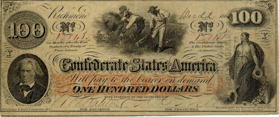 "<span class=""caption"">Confederate currency had images of enslaved people, historical figures and mythical deities.</span> <span class=""attribution""><a class=""link rapid-noclick-resp"" href=""https://www.flickr.com/photos/elycefeliz/6691305563"" rel=""nofollow noopener"" target=""_blank"" data-ylk=""slk:elycefeliz/Flickr"">elycefeliz/Flickr</a>, <a class=""link rapid-noclick-resp"" href=""http://creativecommons.org/licenses/by-nd/4.0/"" rel=""nofollow noopener"" target=""_blank"" data-ylk=""slk:CC BY-ND"">CC BY-ND</a></span>"