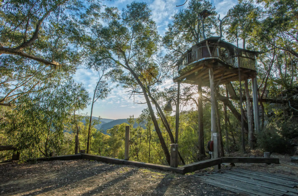 """<p>This secluded treehouse is perched above 600 acres of private wilderness in Australia's Blue Mountains. Meant for adults, the treehouse features a queen-sized bed, fireplace, and floor-to-ceiling windows with stunning views of Bowen's Creek Gorge. </p><p><a class=""""link rapid-noclick-resp"""" href=""""https://www.airbnb.com/rooms/3415111?s=cVBu&irgwc=1&irclid=zbZ3OhQO6xyOWpmwUx0Mo38LUkiRcWWbS2GB1o0&ircid=4273&sharedid=thrillist.com&af=49497874&iratid=9627&c=.pi73.pk4273_10078&source_impression_id=p3_1595276717_yhzmYChuunzXCoc9&guests=1&adults=1"""" rel=""""nofollow noopener"""" target=""""_blank"""" data-ylk=""""slk:BOOK NOW"""">BOOK NOW</a> <strong><em>Treehouse Blue Mountains </em></strong></p>"""