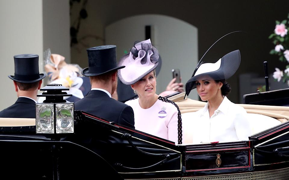 The Duke and Duchess of Sussex and Sophie the Countess of Wessex (centre) during day one of Royal Ascot at Ascot Racecourse (Photo by John Walton/PA Images via Getty Images)