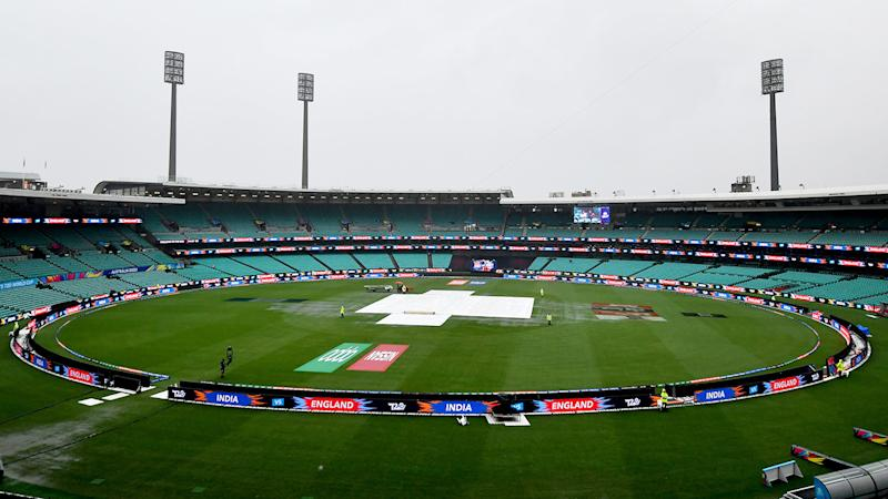The SCG, pictured here after it was lashed with rain during the T20 World Cup semi-finals.