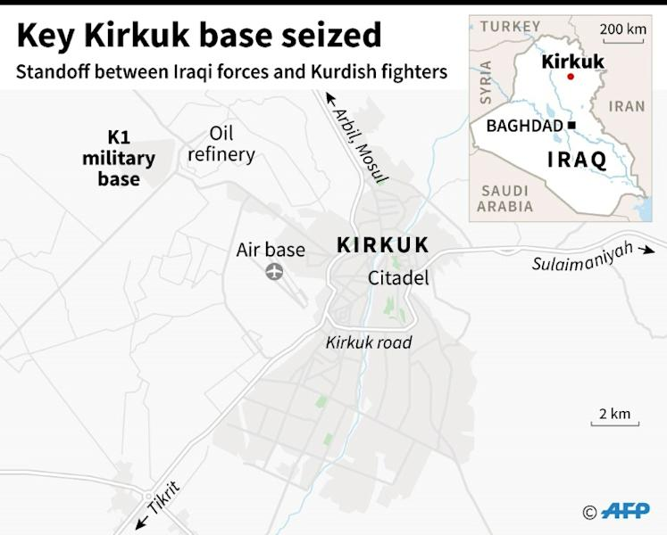 Map of Kirkuk locating the city centre and its principal military airbase, which Iraqi forces say they have seized from Kurds