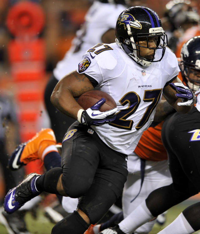 Baltimore Ravens running back Ray Rice (27) runs the ball against the Denver Broncos during the first half of an NFL football game, Thursday, Sept. 5, 2013, in Denver. (AP Photo/Jack Dempsey)