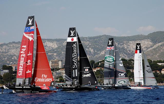 France Sailing - Louis Vuitton America's Cup World series - Toulon, France - 10/09/2016. Emirates Team New Zealand, Softbank Team Japan, Land Rover BAR and Groupama Team France (L to R) take the start during Day One. REUTERS/Jean-Paul Pelissier
