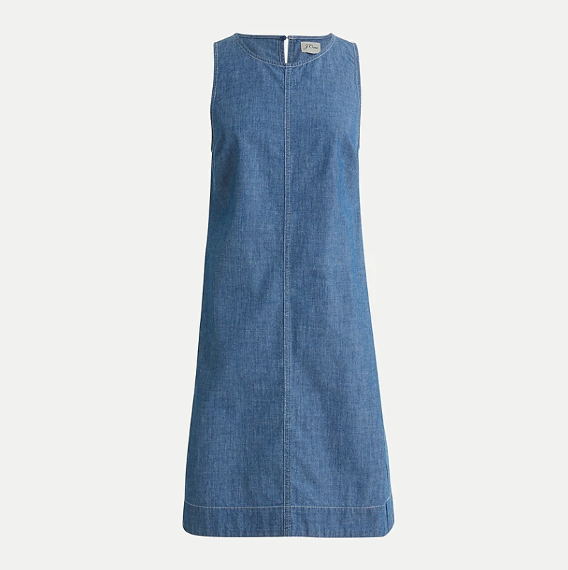 Chambray shift dress. Image via J.Crew.