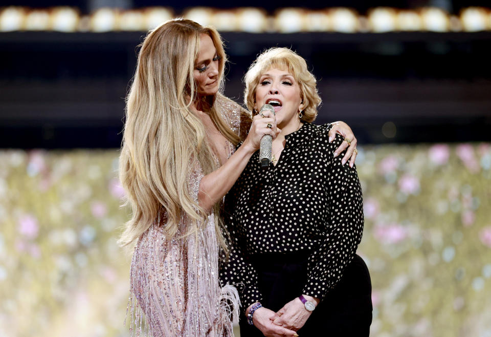 Jennifer Lopez with mom Guadalupe Rodríguez during Global Citizen VAX LIVE: The Concert To Reunite The World at SoFi Stadium in Inglewood, California.
