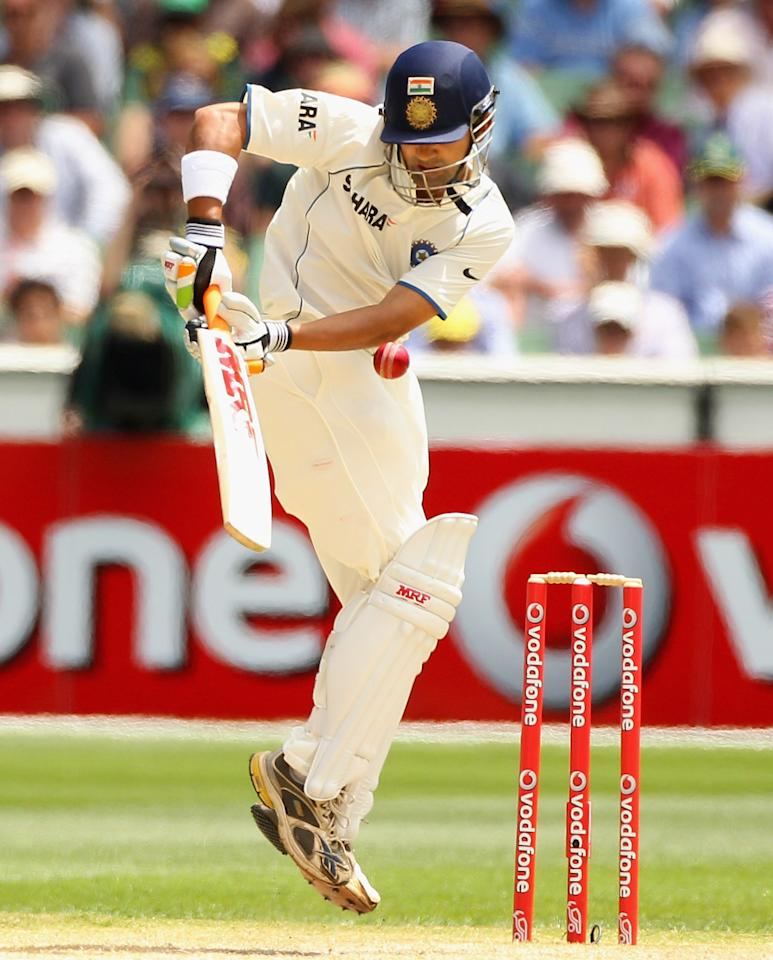 MELBOURNE, AUSTRALIA - DECEMBER 29:  Gautam Gambhir of India plays defensively during day four of the First Test match between Australia and India at the Melbourne Cricket Ground on December 29, 2011 in Melbourne, Australia.  (Photo by Mark Dadswell/Getty Images)
