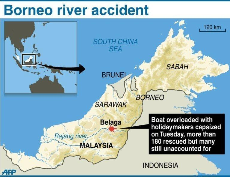 Graphic showing the area in Malaysia's Borneo island where a boat overloaded with holidaymakers capsized