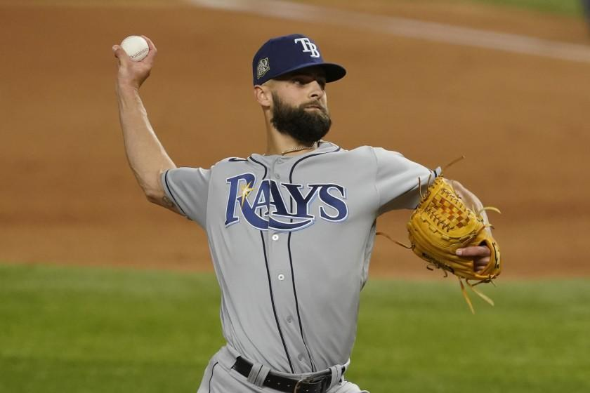 Tampa Bay Rays relief pitcher Nick Anderson throws against the Los Angeles Dodgers during the fifth inning in Game 2 of the baseball World Series Wednesday, Oct. 21, 2020, in Arlington, Texas. (AP Photo/Tony Gutierrez)