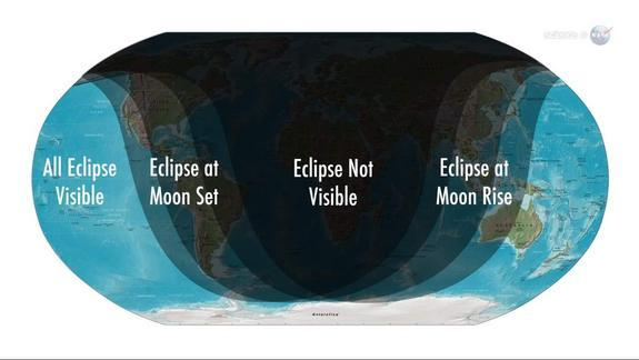 This map shows areas of visibility around the world for the partial lunar eclipse on June 4, 2012.