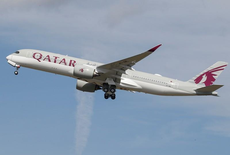 A Qatar Airways aircraft takes off at the aircraft builder's headquarters of Airbus in Colomiers near Toulouse