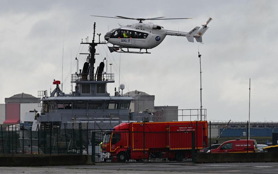 A helicopter at Dunkirk, used in the search operation - Denis Charlet/AFP