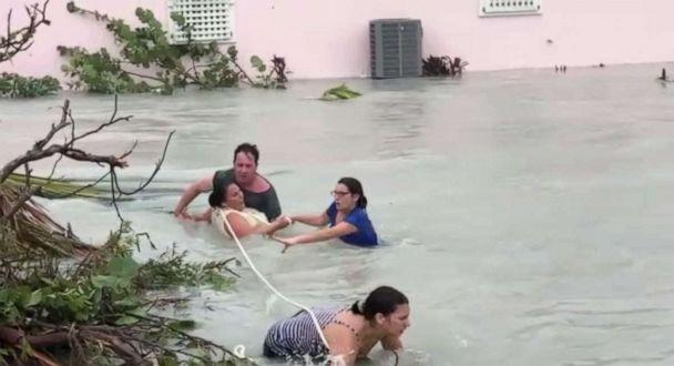 PHOTO: A group of people were rescued from raging floodwaters in Abaco Island, Bahamas, on Sunday, Sept. 1, 2019, as Hurricane Dorian slammed the nation with record force. (ABC News)