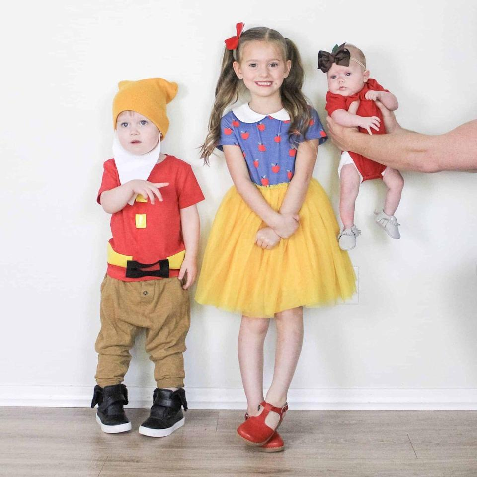 """<p>Hi ho, hi ho, it's off to work (for candy!) you go. This simple DIY costume is perfect no matter how many kids you're trying to dress (as long as it's fewer than seven!). </p><p><em><a href=""""https://arinsolangeathome.com/disney-outfits-for-girls/"""" rel=""""nofollow noopener"""" target=""""_blank"""" data-ylk=""""slk:Get the tutorial at Arin Solange at Home »"""" class=""""link rapid-noclick-resp"""">Get the tutorial at Arin Solange at Home <em><em>»</em></em></a> </em></p><p><strong>RELATED: </strong><a href=""""http://www.goodhousekeeping.com/holidays/halloween-ideas/g2750/easy-last-minute-halloween-costumes-diy/"""" rel=""""nofollow noopener"""" target=""""_blank"""" data-ylk=""""slk:60+ Last-Minute Halloween Costume Ideas You Can Easily DIY Before Your Big Party"""" class=""""link rapid-noclick-resp"""">60+ Last-Minute Halloween Costume Ideas You Can Easily DIY Before Your Big Party</a></p>"""