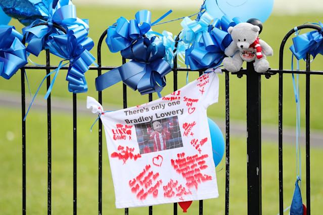<p>The route of the funeral procession is lined with decorations ahead of the funeral of Bradley Lowery </p>