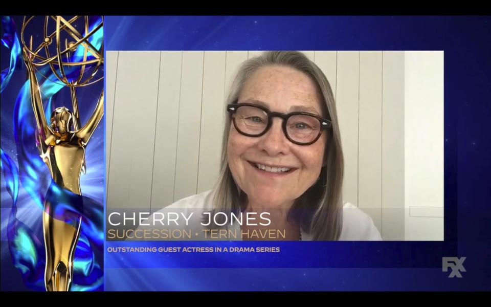 """In this video grab issued Saturday, Sept. 19, 2020 by The Television Academy, Cherry Jones accepts the award for outstanding guest actress in a drama series for """"Succession"""" during the 2020 Creative Arts Emmy Awards. (The Television Academy via AP)"""
