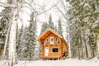 """<p>airbnb.com</p><p><strong>$85.00</strong></p><p><a href=""""https://www.airbnb.com/rooms/6291833"""" rel=""""nofollow noopener"""" target=""""_blank"""" data-ylk=""""slk:BOOK NOW"""" class=""""link rapid-noclick-resp"""">BOOK NOW</a></p><p>Adventure seekers interested in trying dry-cabin living can dip their toes in at this log cabin in Fairbanks, Alaska. The cultural phenomenon, based in this Northern town, is centered in living in nature and providing for yourself. </p><p>If you are new to dry-cabin living, this Airbnb also offers a shower and running water.</p>"""