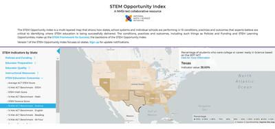The National Math and Science Initiative on Tuesday unveiled its STEM Opportunity Index, an online map that illustrates the practices and outcomes of STEM education across the United States. The map is based on more than 100 public data sets.